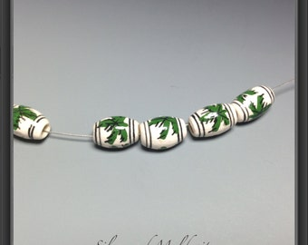 LEAF Ceramic hand painted beads from Peru