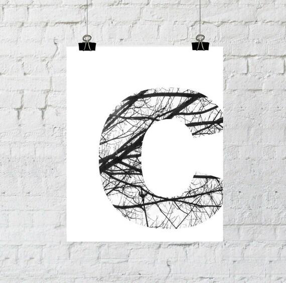 "Black & White Letter ""C"" Tree Branch Art Print. 8x10 Typographic Home Decor. Instant Digital Download Printable Wall Art-ADOPTION FUNDRAISER"