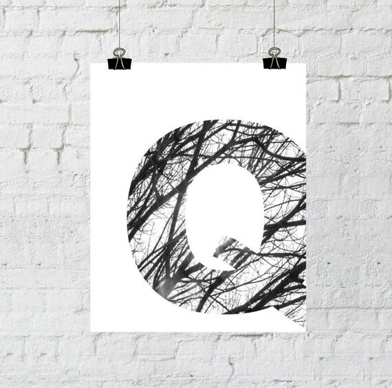 Q monogram letter decor, Scandinavian design, black and white photography minimalist tree branch art, instant download- adoption fundraiser