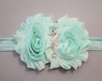 Seahorse shabby flower headband, seafoam baby headband, newborn headband, girls headband, alligator clip