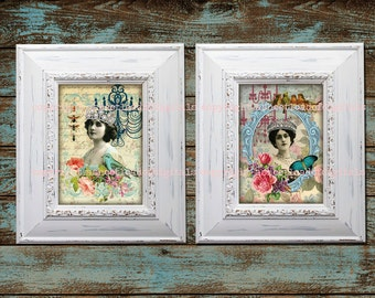 5x7 Vintage Digital Collage Sheet Victorian Women