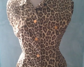 Jean paul GAULTIER original -  stunning 1980 vintage fitted corset jacket with belt rare leopard cotton denim