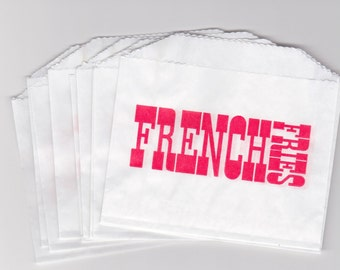 Retro Style Single Serving French Fry Bags, French Fries Bag, White with Red Print