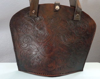 Leather Purse hand tooled by Artrix Leather and Fine Art-  Rose Tote Style Shoulder Bag