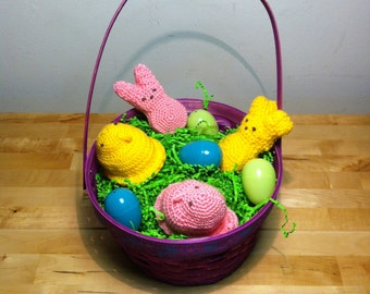 "Crochet ""Marshmallow Treet"" Bunnies and Chicks."