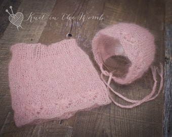 Esther Skirt Set - PDF PATTERN - newborn baby mohair knit photo prop