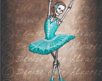 "11x14 Day of the Dead Giclee print, ""The Ballerina"""