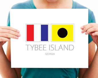 Tybee Island - Georgia - Nautical Flag Art Print