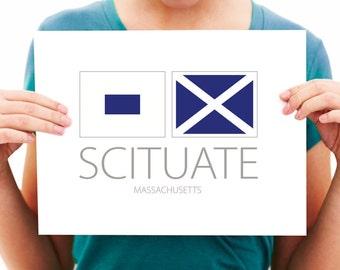Scituate, Massachusetts, Nautical Flag Art Print