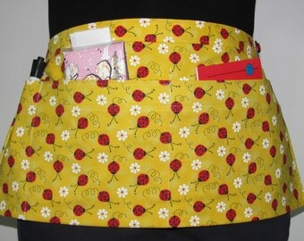 Waist Apron for Teachers, Vendors, Servers, Crafters, Gardeners with Red Ladybugs on Yellow Fabric (3 Pockets)