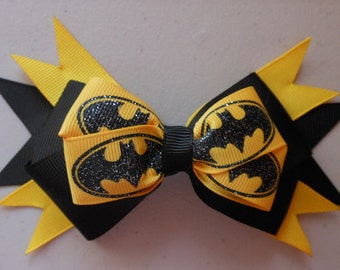 Batman Superhero Glitter Bow