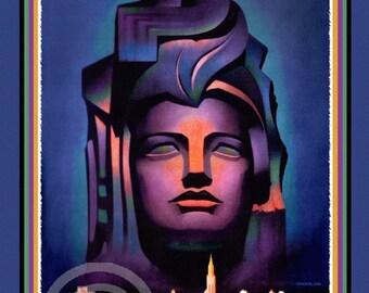 Whimsical Art Deco Treasure Island Poster,  Worlds Fair, Golden Gate International Expo, San Francisco, 1939, Giclee Fine Print, 12x18, 1939
