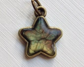 Baby Hand Painted Bubble Effect Star Charm, Artisan Resin Filled Antique Bronze Base With Matching Painted Back. Green, Red and Gold
