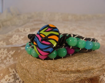 Fun Wrap Bracelet leather bracelet hippy button bracelet boho wrap bracelet