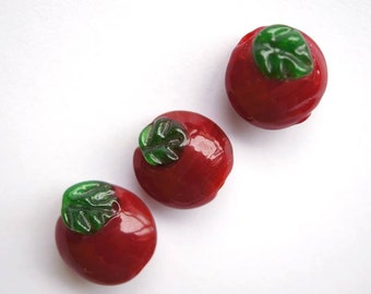 Handmade Apple / fruit / red lentil lampwork bead / craft supplies/ beading/ vegan bead