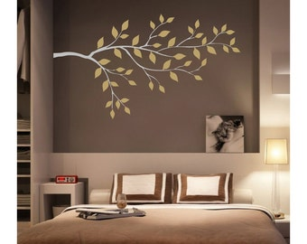 Tree Branch Wall Decal With Leaves // sticker // art  // room decor  // flower // JA13