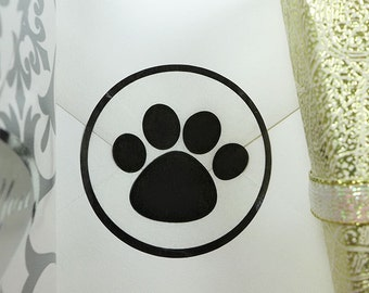 25 Paw Print Labels, Puppy Party Stickers, Animal Party Stickers,