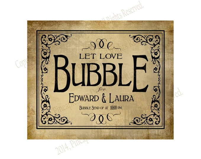 PERSONALIZED Bubble Send Off Wedding sign - DIY PRINTABLE Vintage style - Vintage Black Tie Collection