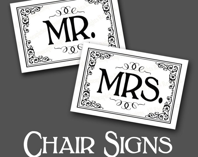 Mr & Mrs Wedding Chair Signs - instant download PRINTABLE digital file - DIY - Traditional Black and white Black Tie Collection