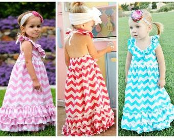 Chevron Print Maxi Dress // Little Girls Dresses // Toddler Summer Dress // Girls Gray Chevron Print Dress