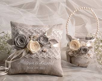 Flower Girl Basket & Ring Bearer Pillow Set, Shabby Chic Natural Linen, Embriodery Names