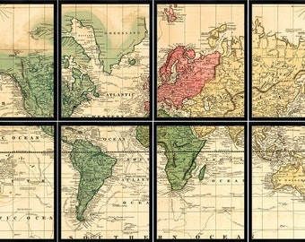 Map of the World, WORLD MAP 1820, Eight 11x14 PANELS, Sectional Wall Map, Antique Map, Custom Maps