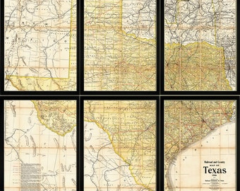 TEXAS Map. Map of Texas, SIX 18x24 PANELS, or 16 x20, Sectional Print, Wall Map, Fine Art Print
