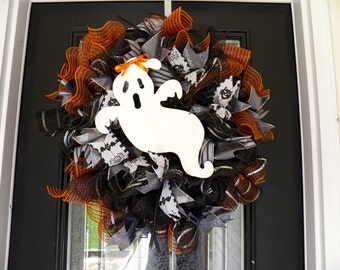 Halloween Wreath, Halloween Door Hanger, Halloween decoration, Deco Mesh Wreath, Fall Wreath, Pre-Order