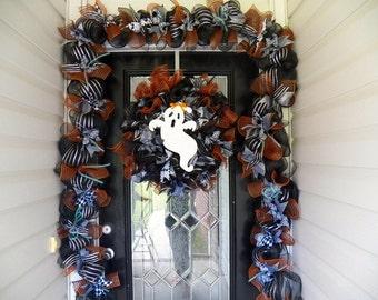 Halloween Wreath, Matching Garland, Halloween Decoration, Fall Wreath,