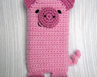 PDF PATTERN - Pink Pig - iPhone 5 crochet case (cozy, sleeve, cover)
