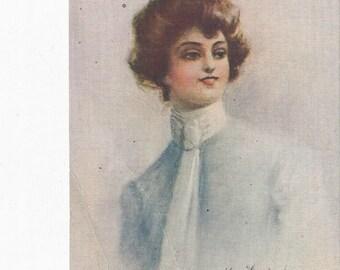 Beautiful Lady Postcard signed by Kenyon