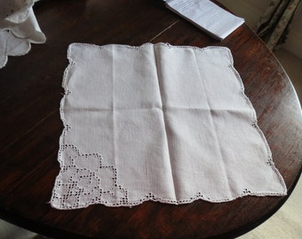 White Linen tray cloth or mat