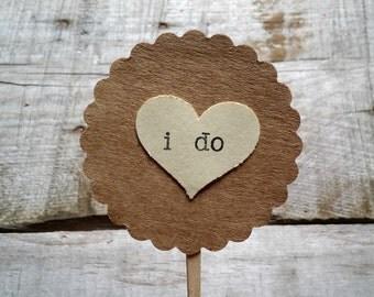 I Do Wedding Heart Cupcake Topper, Cake Decor, Cupcake Decor, Wedding Decor, Bridal Shower Shabby Chic Party Picks, Set of 20