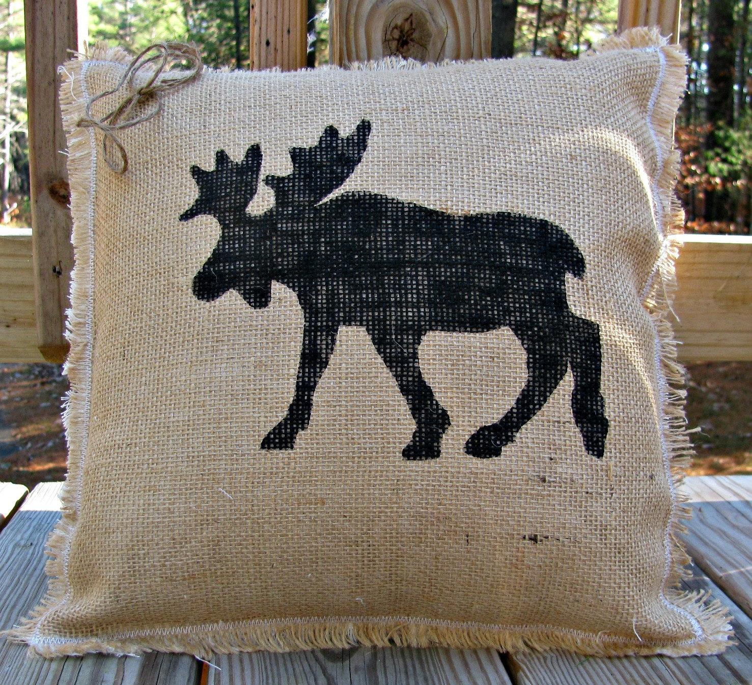 Moose Burlap Pillow Rustic Decor Adirondack Throw Pillow