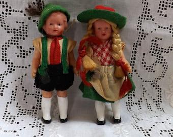 Swiss Dolls_Pair of Swiss Dolls_Doll House Dolls_Boy and Girl Swiss Dolls_Children For Doll House_Boy and Girl For Doll House