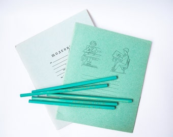 Soviet Graphite Pencils / 5 Turquoise New Old Stock Vintage Artist Pencils With HB 88 Leads and Embossed Golden Letters / USSR Stationery