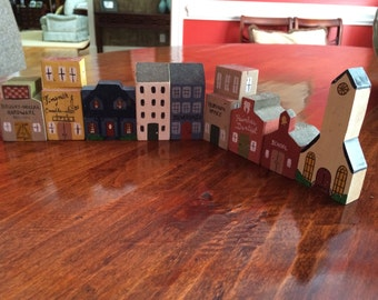 Handmade Little Town Blocks Stores and Houses