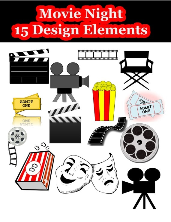 Hollywood Movie Night Digital Clipart INSTANT DOWNLOAD
