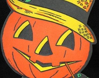 Vintage Beistle Halloween Decoration Jack o Lantern Wearing Straw Hat Diecut Embossed