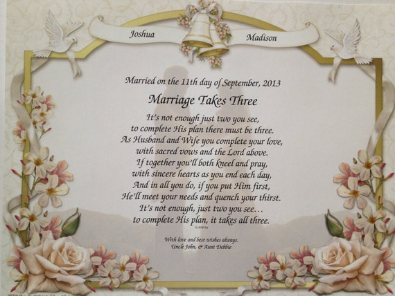 Engraved Wedding Gifts For Bride And Groom: Wedding Gift For Bride And Groom Marriage Takes Three