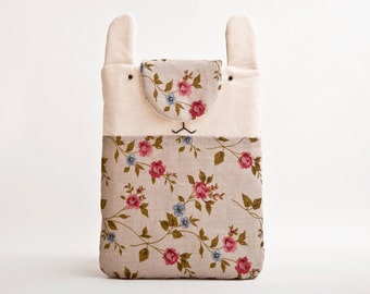 iPad Mini Case, Floral iPad mini Cover, Bunny iPad mini sleeve, Samsung Galaxy Tab Case, Bunny iPad Mini 4 Case, Mom Gift, 8.4 x 6.6 in.