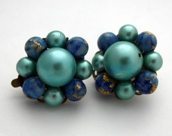 Vintage Blue Faux Pearl Clip On Earrings, Japan