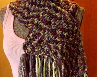 Crochet Scarf, Purple Blue Green, Wooly, Shorter, Petite Length, Handmade, Muted Cool Colors