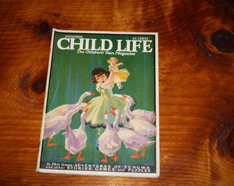 Vintage Child Life Magazine, September 1937, Robert B. Usher Cover Art
