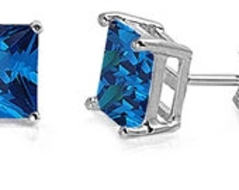 1.00 Carat Princess Cut Square Stud Post Earrings Blue Sapphire 925 Sterling Silver 5MM Basket Set Casting September Birthstone
