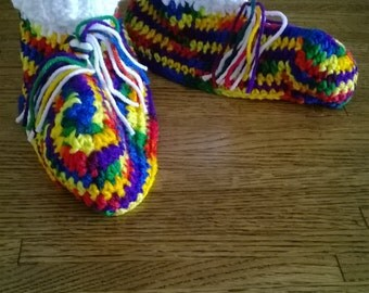 Rainbow Cozy Crochet Slippers, Size Large