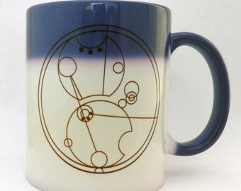 Gallifreyan Morph Mug - Color Changing Blue to White Name Translated to Gallifryan