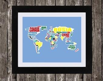 "World Map in Spanish, Mapa Del Mundo, Printable World Map, Typographic Map, Paises Del Mundo, Mapamundi, Printable Map, 8x10"", 14x11"""