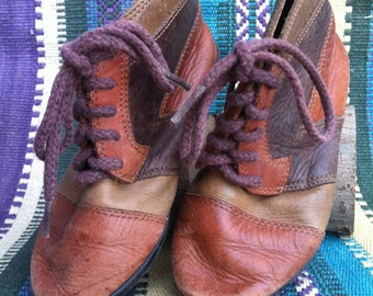Vintage Children's Tri-Tone Leather Moccasin Boots