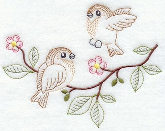 Sparrow duo Embroidered Flour sack towel pair Great Gift!